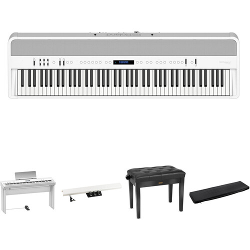 Roland FP-90 Digital Piano Kit with Stand, Pedal Unit, Bench, and Dust Cover (White)