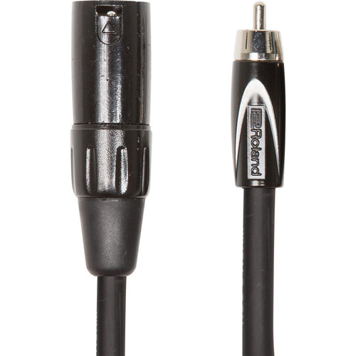 Roland Black Series XLR Male to RCA Interconnect Cable (10')
