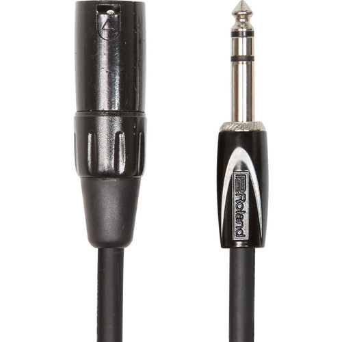 """Roland Black Series 1/4"""" TRS Plug to XLR Male Balanced Interconnect Cable (15')"""