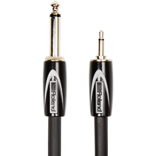 "Roland Black Series 1/8"" TS Plug to 1/4"" TS Plug Interconnect Cable (3')"