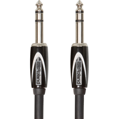 "Roland Black Series 1/4"" TRS Plug to 1/4"" TRS Plug Interconnect Stereo Cable (3')"