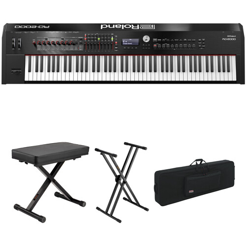 Roland RD-2000 88-Key Digital Stage Piano with Bench, Stand, and Travel Case Kit