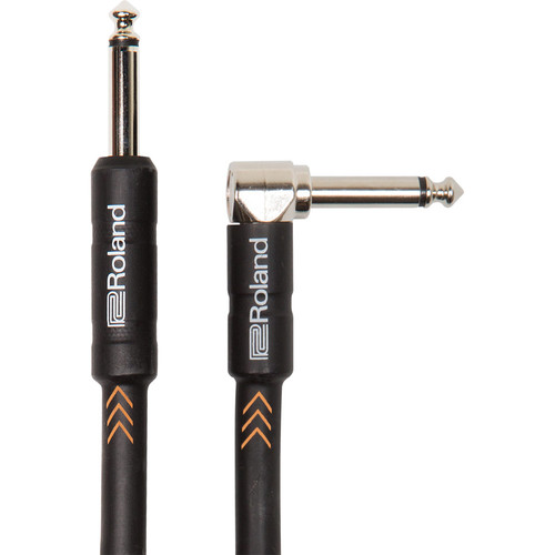"Roland Black Series 1/4"" Plug to 1/4"" Right-Angle Plug Instrument Cable (10')"