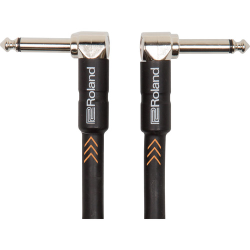 """Roland Black Series 1/4"""" Right-Angle Plug to 1/4"""" Right-Angle Plug Instrument Cable (1')"""