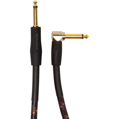 """Roland Gold Series 1/4"""" Plug to 1/4"""" Right-Angle Plug Instrument Cable (15')"""
