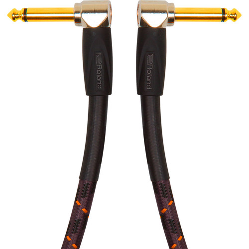 """Roland Gold Series 1/4"""" Right-Angle Plug to 1/4"""" Right-Angle Plug Instrument Cable (1')"""