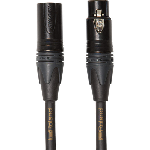 Roland Gold Series Neutrik XLR-M to XLR-F Balanced Microphone Cable (10')