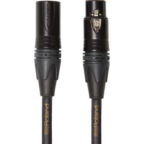 Roland Gold Series Neutrik XLR-M to XLR-F Microphone Cable with Four OFC Conductors (3')