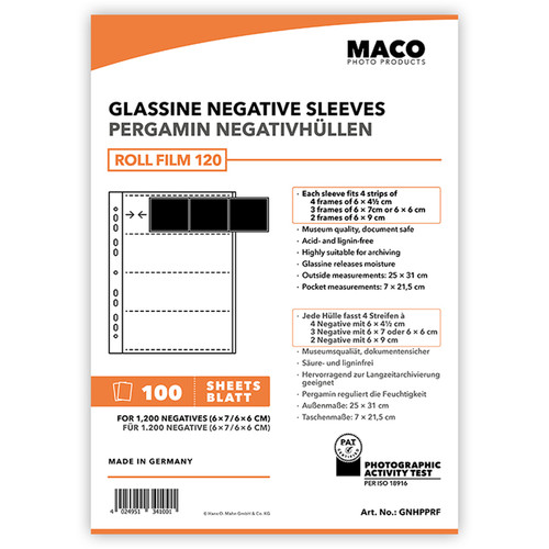 Rollei MACO Glassine Negative Sleeves for 120 Format Film (4-Strips, 100-Pack)