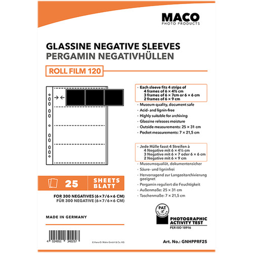 Rollei MACO Glassine Negative Sleeves for 120 Format Film (4-Strips, 25-Pack)
