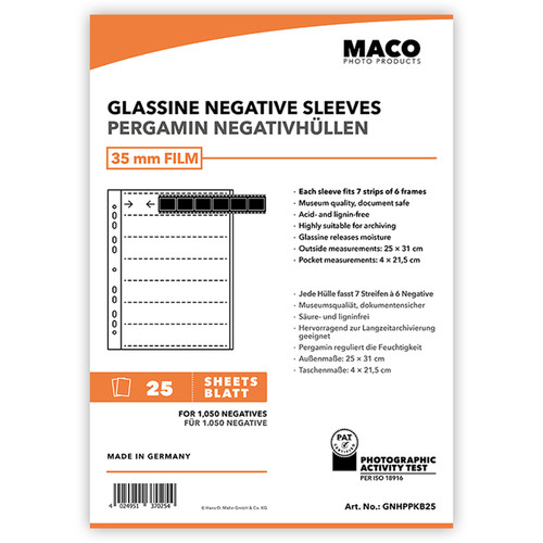 Rollei MACO Glassine Negative Sleeves for 35mm Film (7-Strips, 100-Pack)