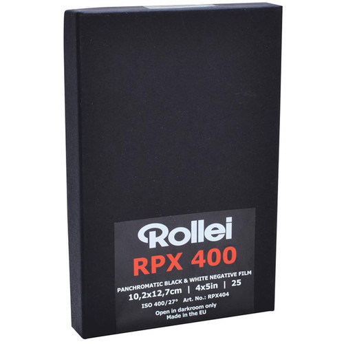 """Rollei RPX 400 Black and White Negative Film (4x5"""", 25 Sheets)"""