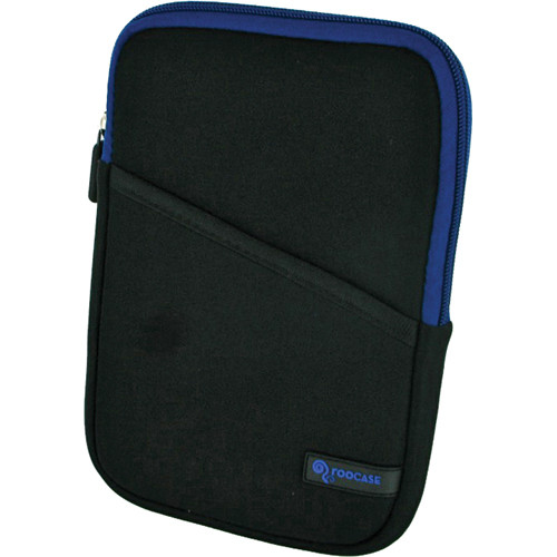 """rooCASE Super Bubble Neoprene Sleeve Case Cover for 7"""" Tablet / eBook Reader and iPad mini (Black/Dark Blue)"""
