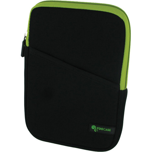 "rooCASE Super Bubble Neoprene Sleeve Case Cover for 7"" Tablet / eBook Reader and iPad mini (Black/Neon Green)"