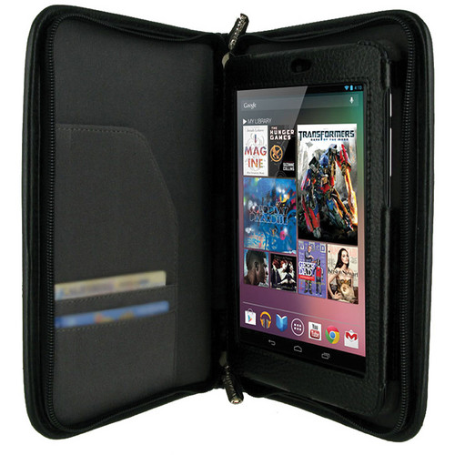 rooCASE Executive Leather Case Cover for Google Nexus 7 Tablet (Black)