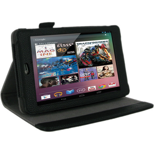 rooCASE Multi-Angle Vegan Leather Case Cover for Google Nexus 7 Tablet (Black)