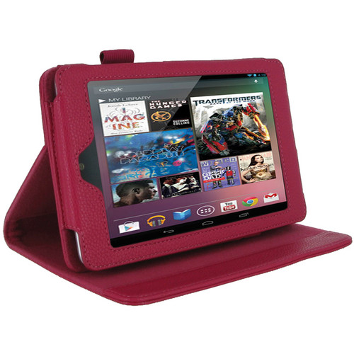 rooCASE RC-NEXUS7-MA-MA Multi Angle Vegan Leather Folio Case Cover for Google Nexus 7 Tablet (Magenta)