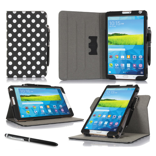 "rooCASE Dual View Folio Case Cover for Samsung Galaxy Tab S 8.4"" (Polkadot Black)"