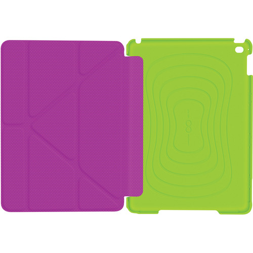 rooCASE Origami 3D Slim Shell Case for iPad Air 2 (Electric Green/Peach Pink)