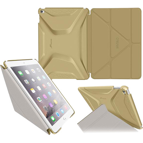 rooCASE Origami 3D Slim Shell Case for iPad Air 2 (Champagne Gold/Cool Gray)
