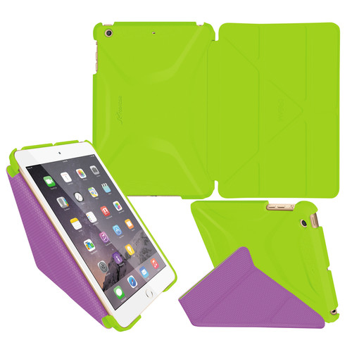 rooCASE Origami 3D Case for Apple iPad mini 1/2/3 (Electric Green/Peach Pink)