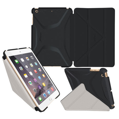 rooCASE Origami 3D Case for Apple iPad mini 1/2/3 (Granite Black/Cool Gray)