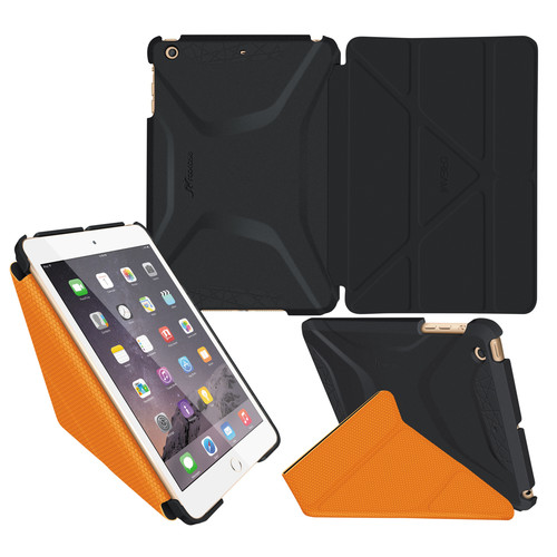 rooCASE Origami 3D Case for Apple iPad mini 1/2/3 (Granite Black/Orange)