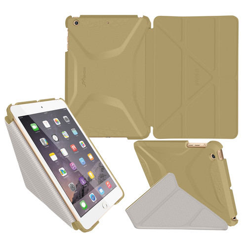 rooCASE Origami 3D Case for Apple iPad mini 1/2/3 (Gold/Cool Gray)