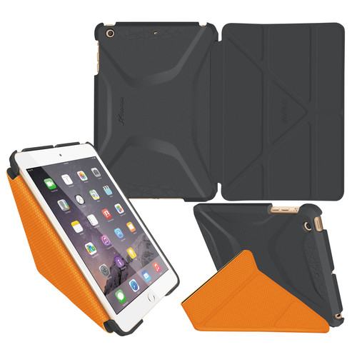 rooCASE Origami 3D Case for Apple iPad mini 1/2/3 (Space Gray/rooCASE Orange)