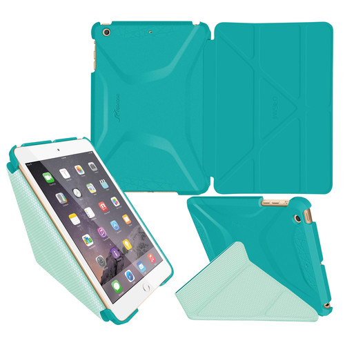 rooCASE Origami 3D Case for Apple iPad mini 1/2/3 (Turquoise Blue/Mint Candy)