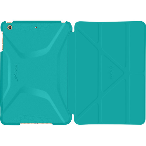rooCASE Origami 3D Case for Apple iPad mini 4 (2015) (Turquoise Blue/Gunmetal Gray)