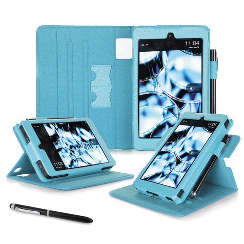 "rooCASE Dual View Folio Case Cover for Amazon Kindle Fire HD 6"" (2014 Ed.) (Blue)"