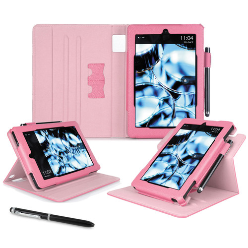 "rooCASE Dual View Folio Case Cover for Amazon Kindle Fire HD 7"" (2014 Ed.) (Pink)"