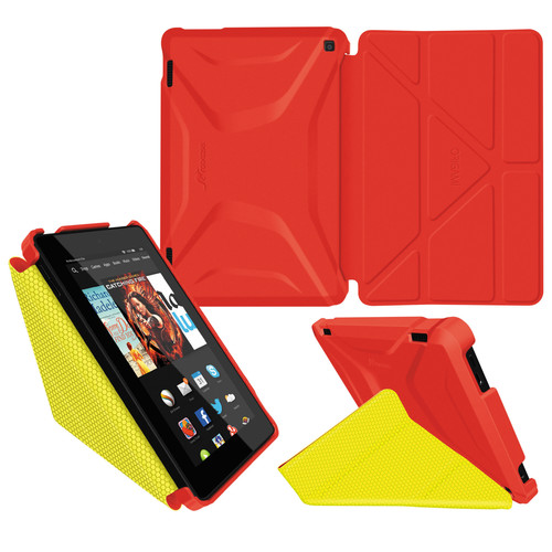 rooCASE Origami Slim Shell Folio Case Cover for Amazon Fire 2014 HD 7 (Red/Yellow)