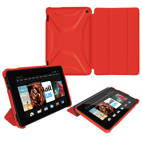 rooCASE Optigon Slim Shell Folio Case Cover for Amazon Fire 2014 HD 7 (Red)