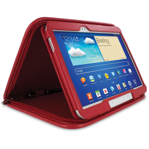 "rooCASE Executive Folio Leather Case with Stylus for Galaxy Tab 3 10.1"" (Red)"