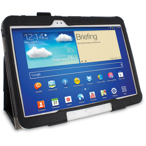 rooCASE Dual Station Folio Case Cover with Stylus for Samsung Galaxy Tab 3 10.1 (Black)