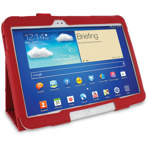 rooCASE Dual Station Folio Case Cover with Stylus for Samsung Galaxy Tab 3 10.1 (Red)