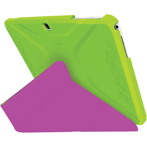 rooCASE Origami 3D Slim Shell Folio Case Cover for Samsung Galaxy Tab 4 10.1 (Electric Green / Peach Pink)