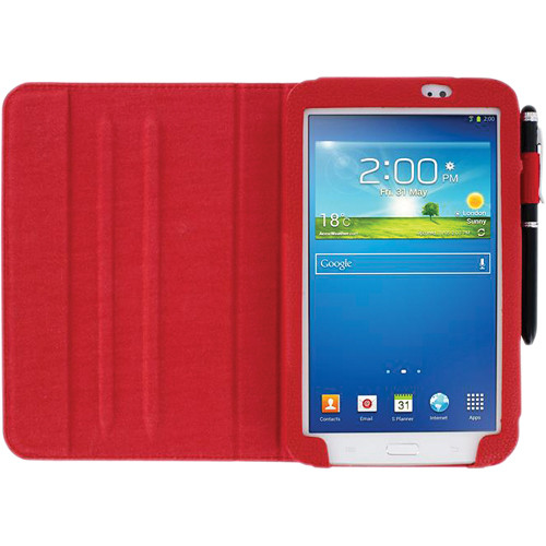 "rooCASE Dual View Folio Case Cover for Samsung Galaxy Tab 3 7.0"" (Red)"