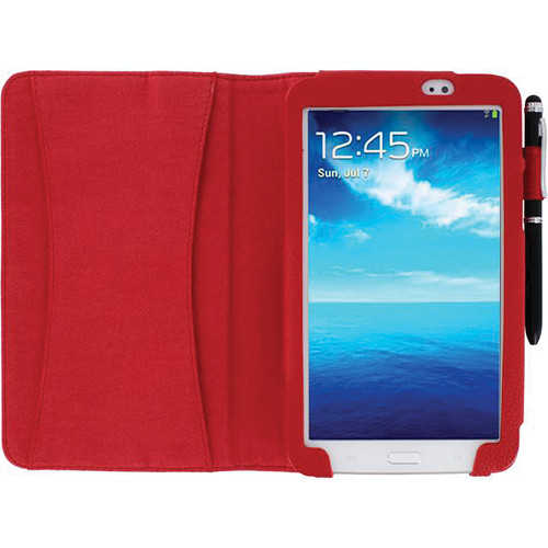 rooCASE Dual Station Vegan Leather Folio Case with Stylus for Samsung Galaxy Tab 3 7.0 (Red)