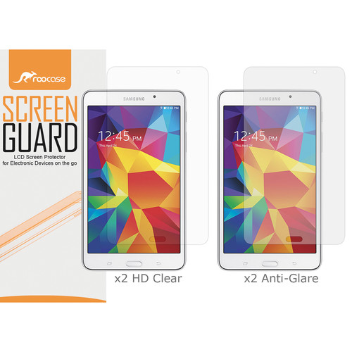 """rooCASE HD Clear and Anti-Glare Screen Protectors for Galaxy Tab 4, 7.0"""" (4-Pack)"""