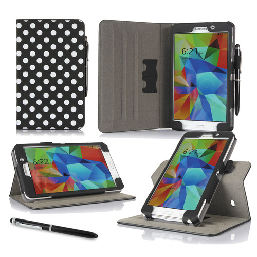 "rooCASE Dual View Folio Case Cover for Samsung Galaxy Tab 4 7.0"" (Polkadot Black)"