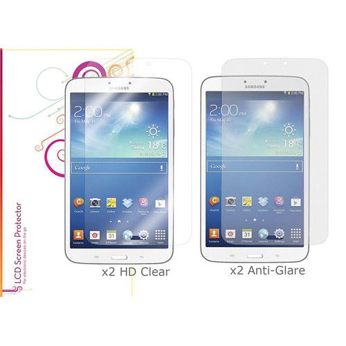 "rooCASE HD Clear and Anti-Glare Screen Protectors for Galaxy Tab 3, 8.0"" (4-Pack)"