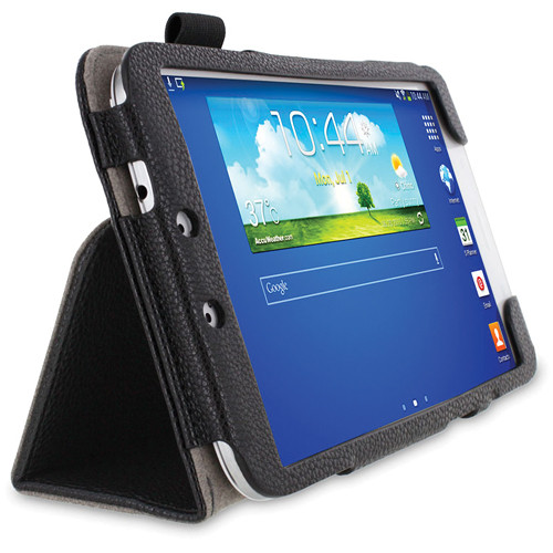 rooCASE Dual Station Vegan Leather Folio Case with Stylus for Samsung Galaxy Tab 3 8.0 (Black)