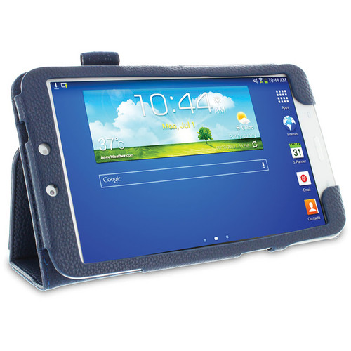 rooCASE Dual Station Vegan Leather Folio Case with Stylus for Samsung Galaxy Tab 3 8.0 (Navy)