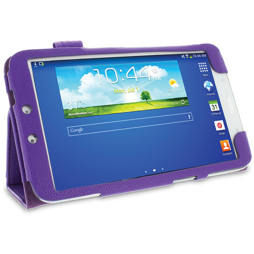rooCASE Dual Station Vegan Leather Folio Case with Stylus for Samsung Galaxy Tab 3 8.0 (Purple)