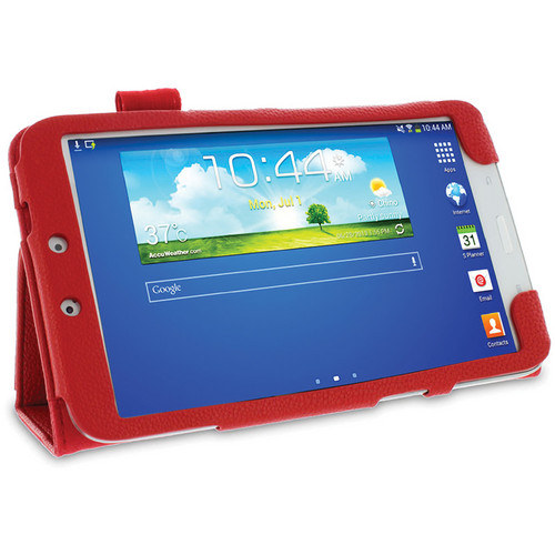 rooCASE Dual Station Vegan Leather Folio Case with Stylus for Samsung Galaxy Tab 3 8.0 (Red)