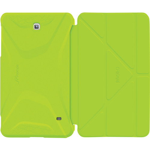 rooCASE Origami 3D Slim Shell Folio Case Cover for Galaxy Tab 4 8.0 (Electric Green / Peach Pink)