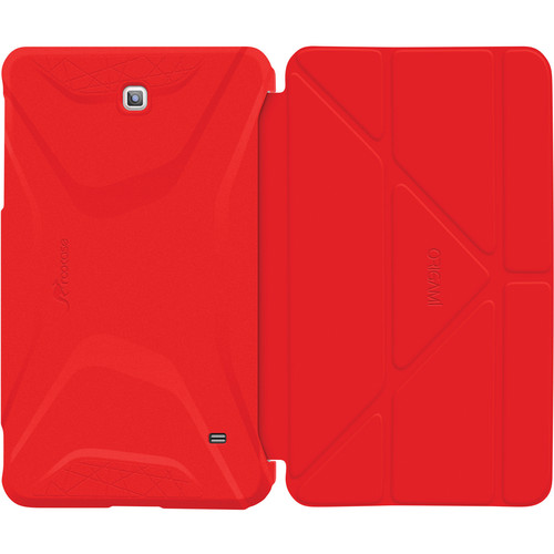 rooCASE Origami 3D Slim Shell Folio Case Cover for Galaxy Tab 4 8.0 (Testarossa Red / Tangerine Yellow)